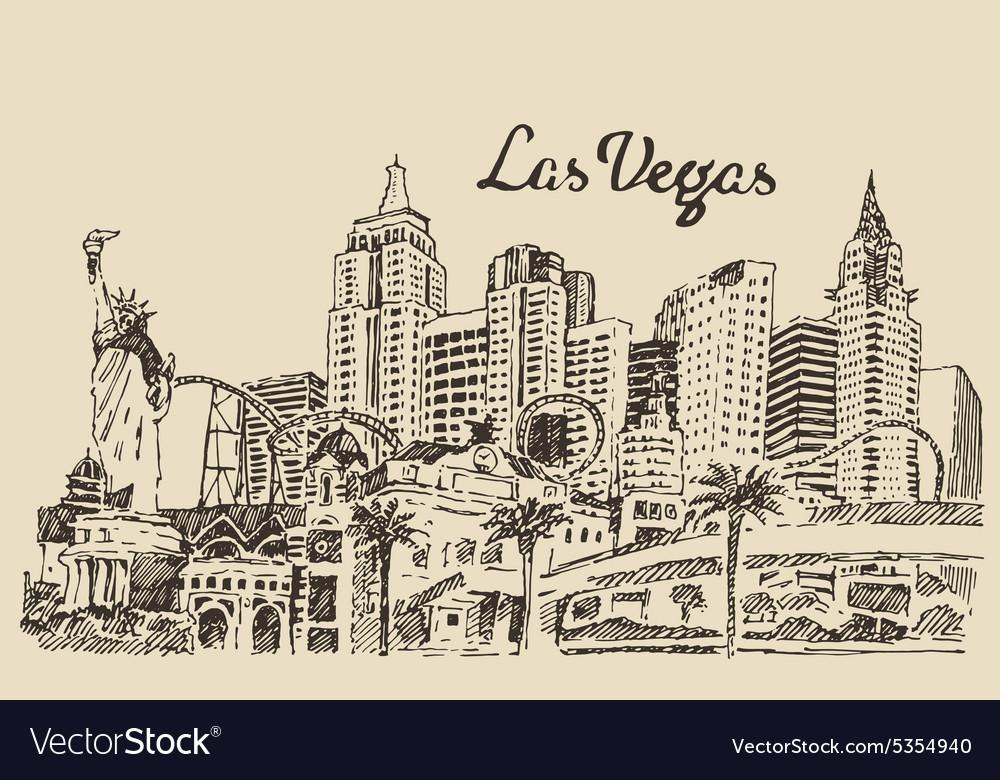 Las Vegas skyline engraved