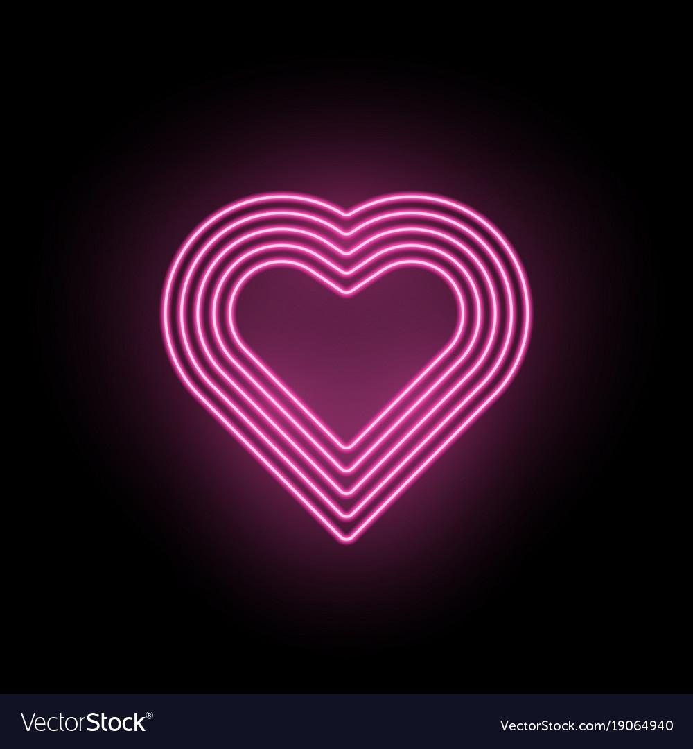 neon heart neon silhouette of pink heart vector image