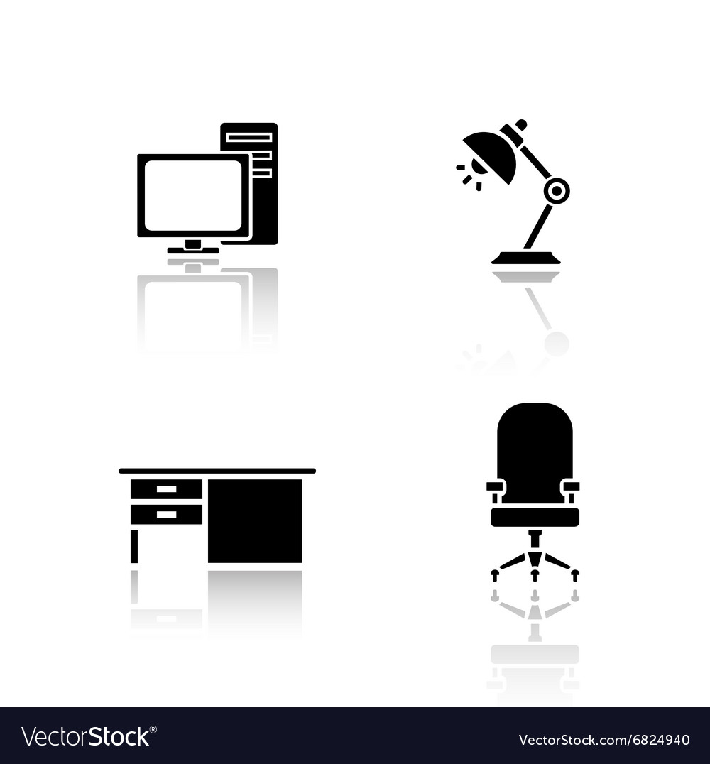 Office interior elements drop shadow icons set