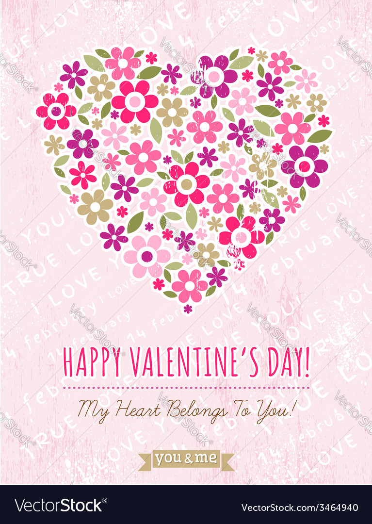Pink background with valentine heart of spring flo