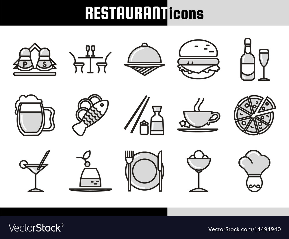 Restaurant linear icons collection