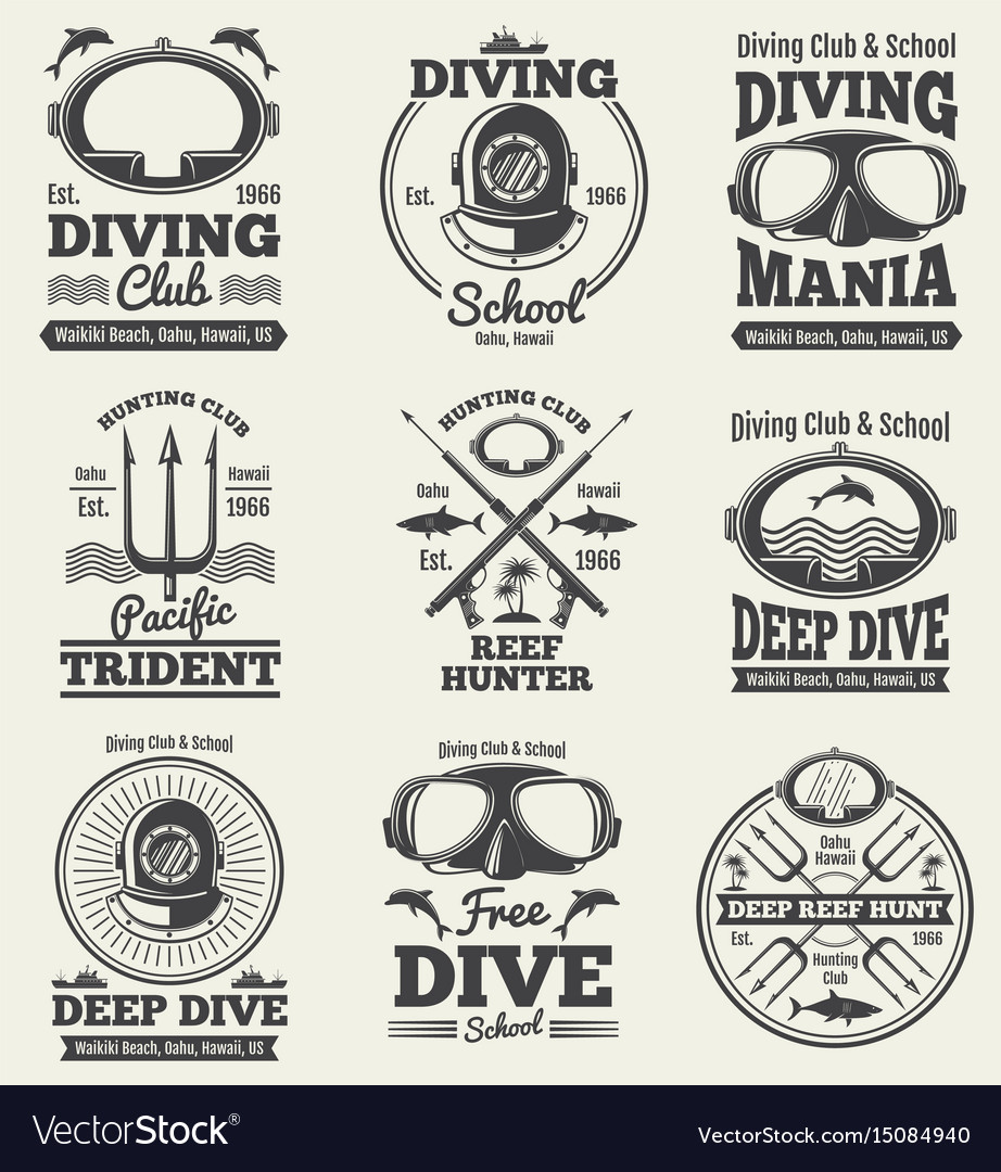 Scuba diving vintage labels spearfishing