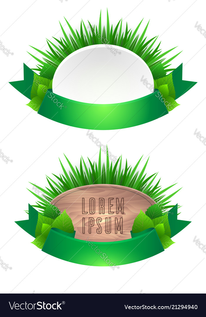 Set of icons with grass leaves and green ribbons