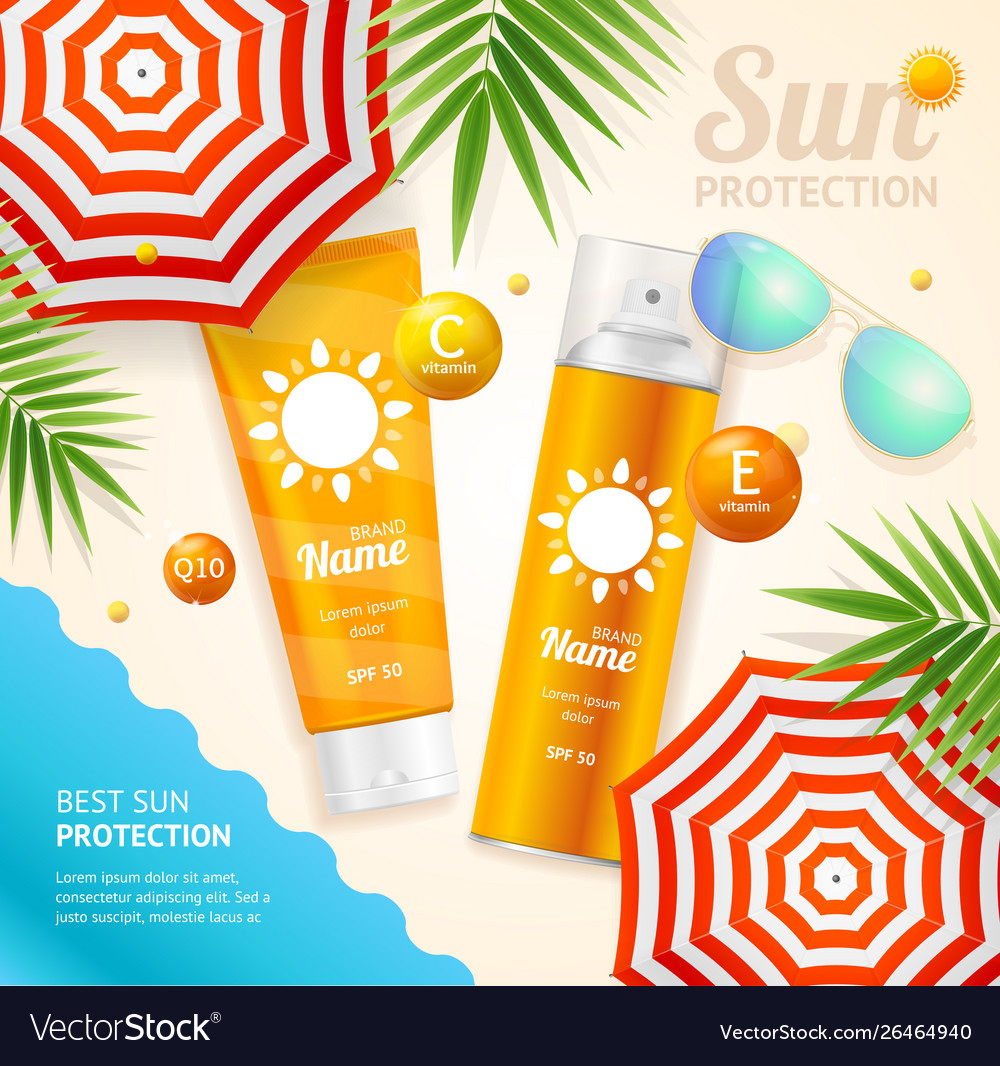 Sun protection ad concept card background