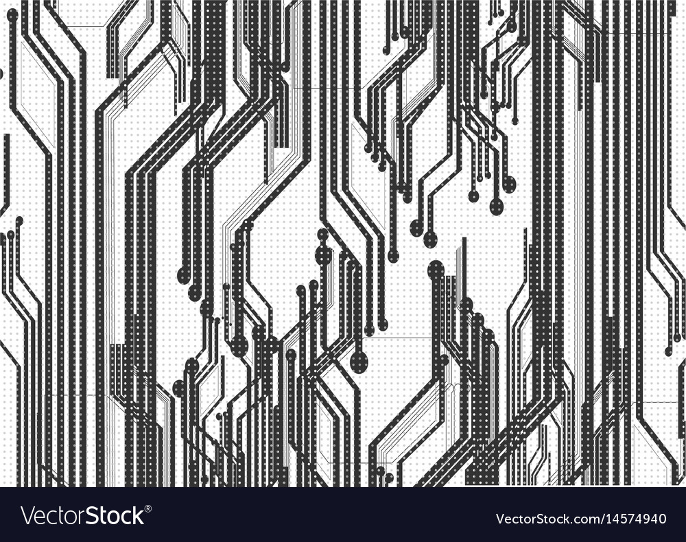 Technological abstract black circuit background vector image