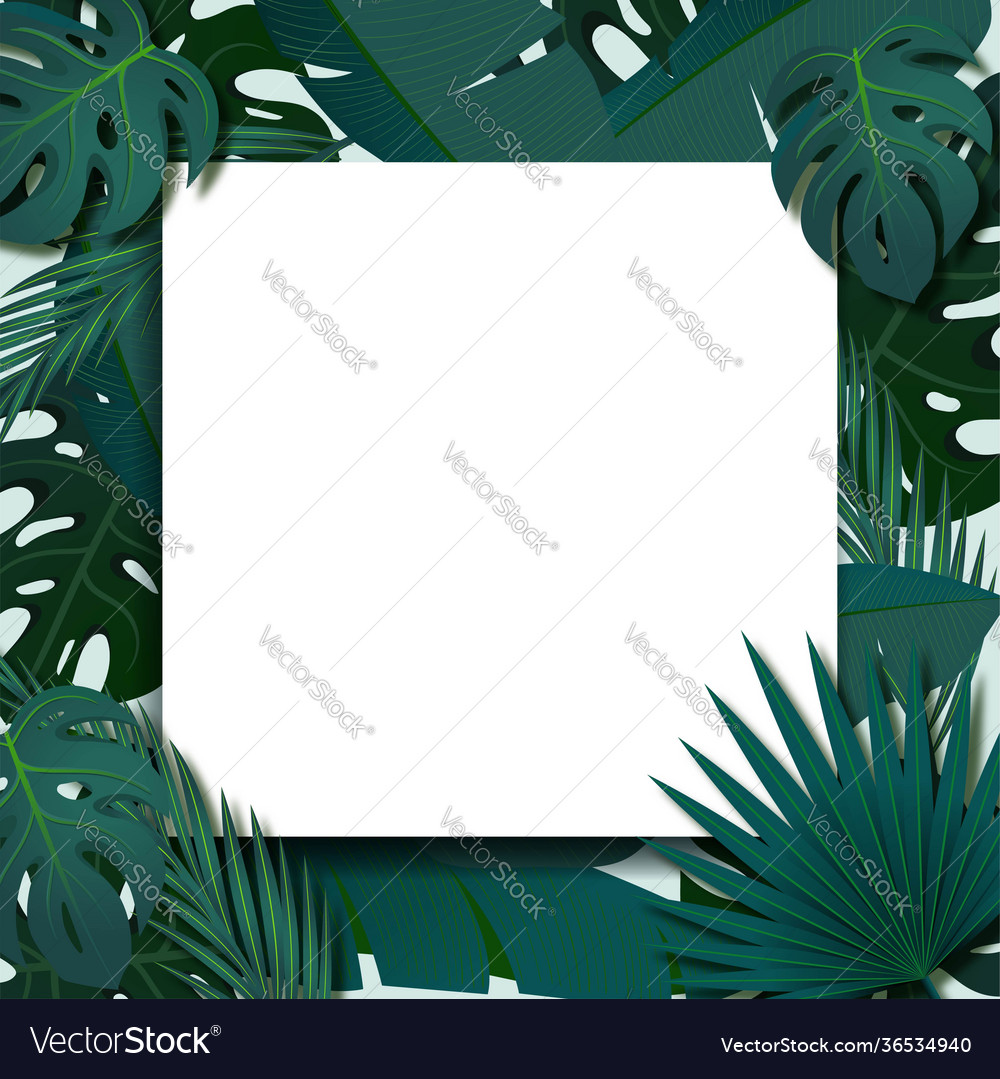 Tropical foliage frame template