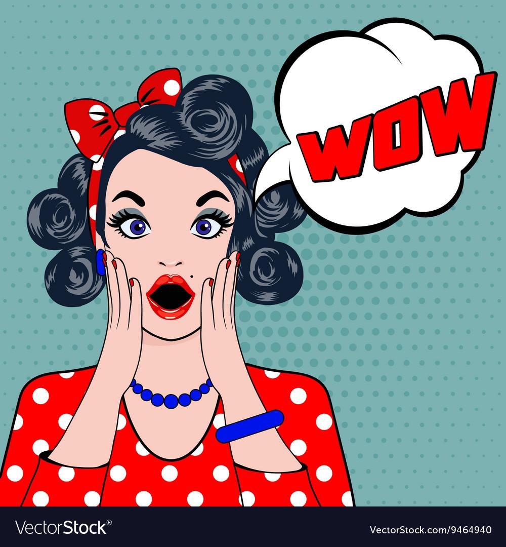 WOW bubble pop art surprised woman face