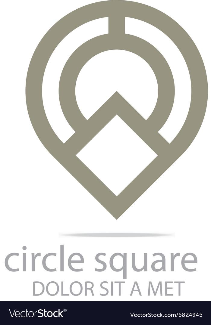 Abstract icon circle square design