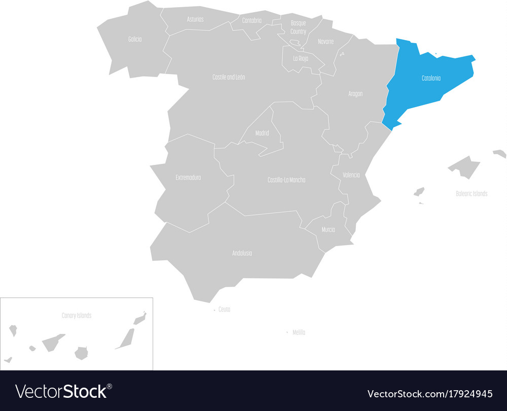 Map Of Spain And Catalonia.Catalonia Autonomous Community In The Map Of Spain
