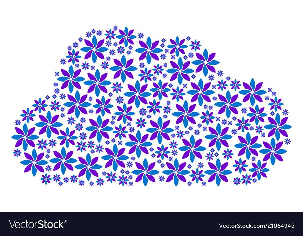 Cloud collage of abstract flower icons