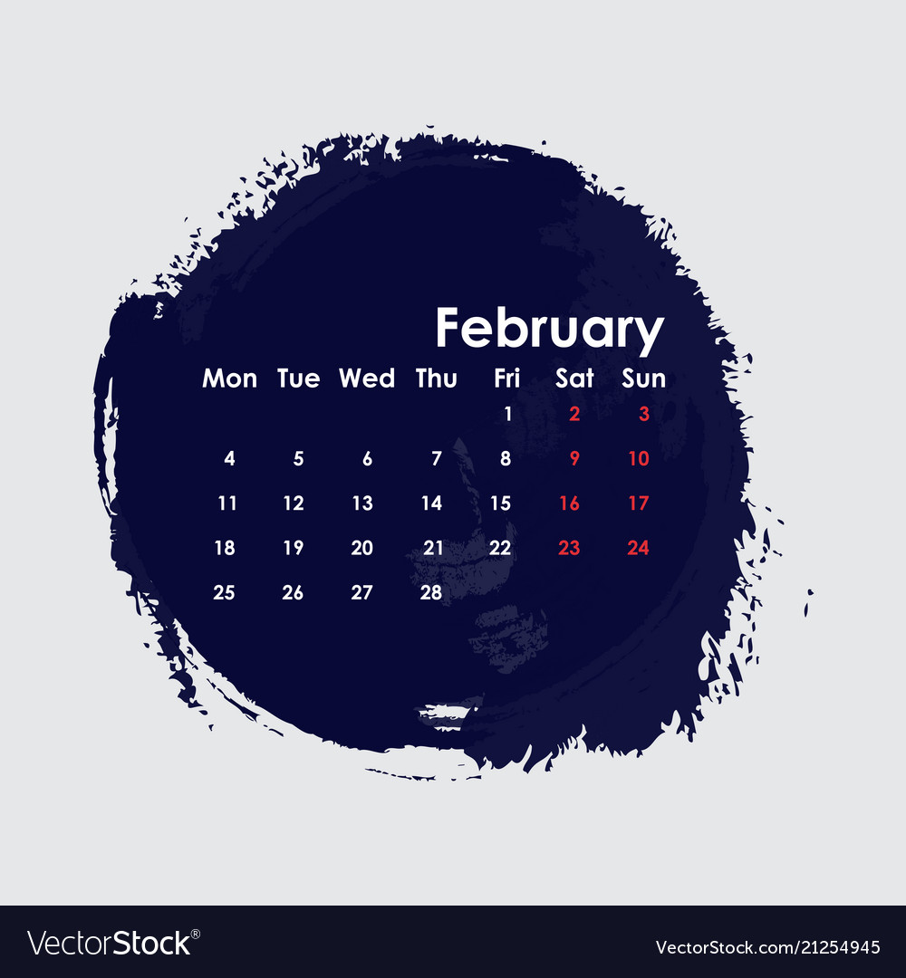 February 11 2019 Calendar February 2019 calendar templatestarts from Vector Image