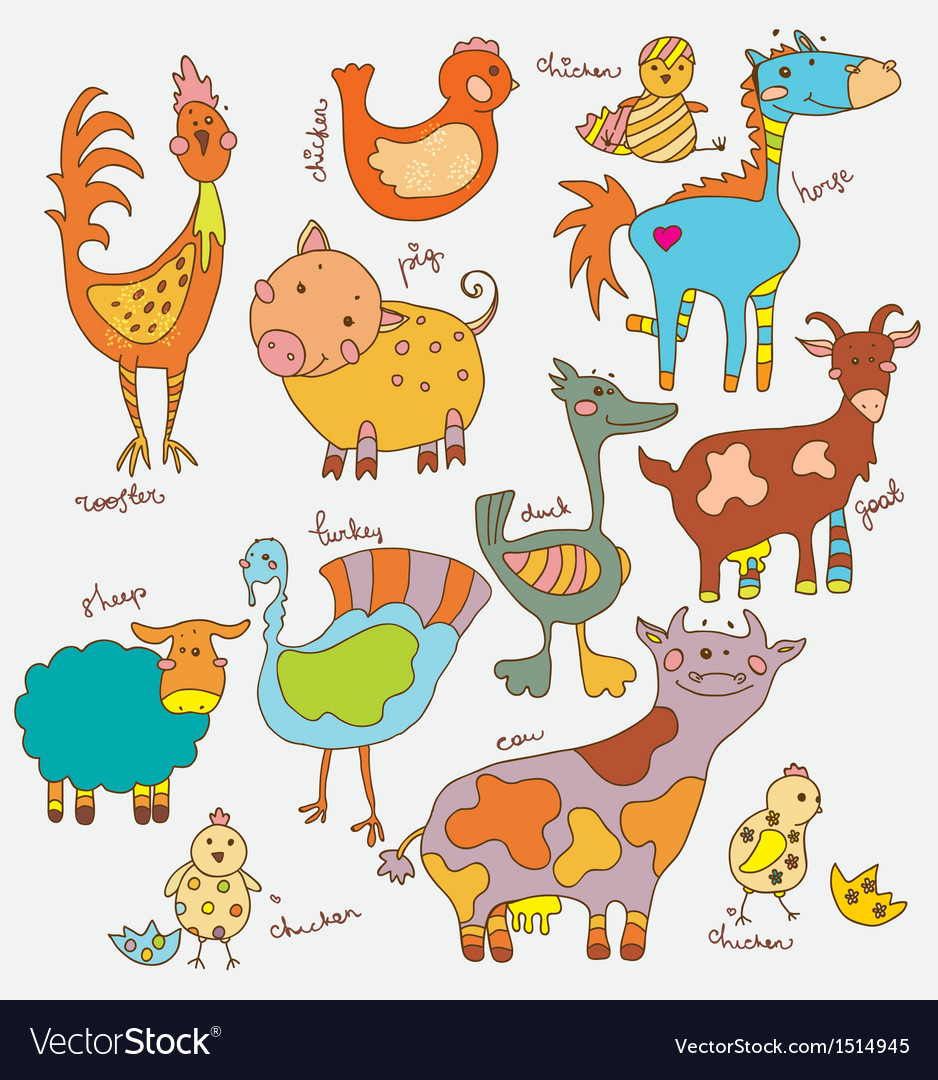 Funny cartoon farm animals