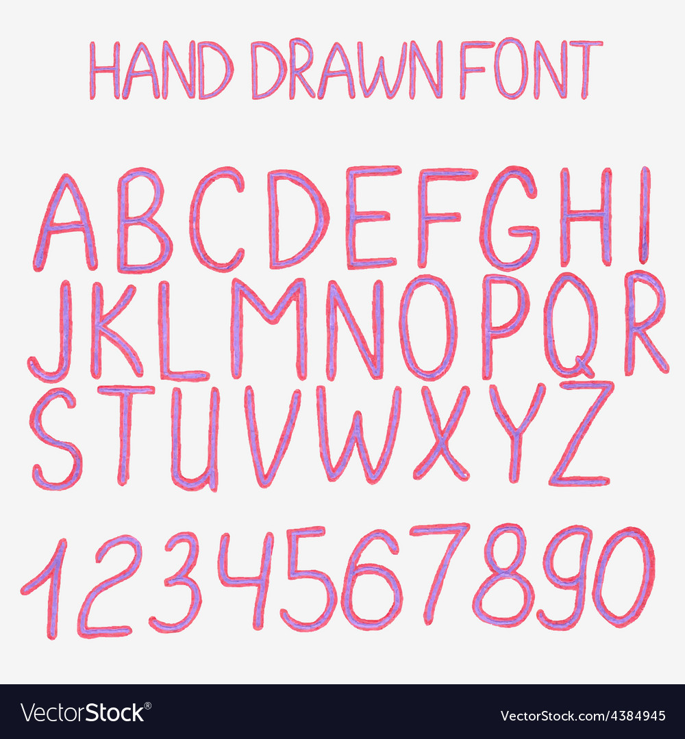 Hand drawn alphabet with