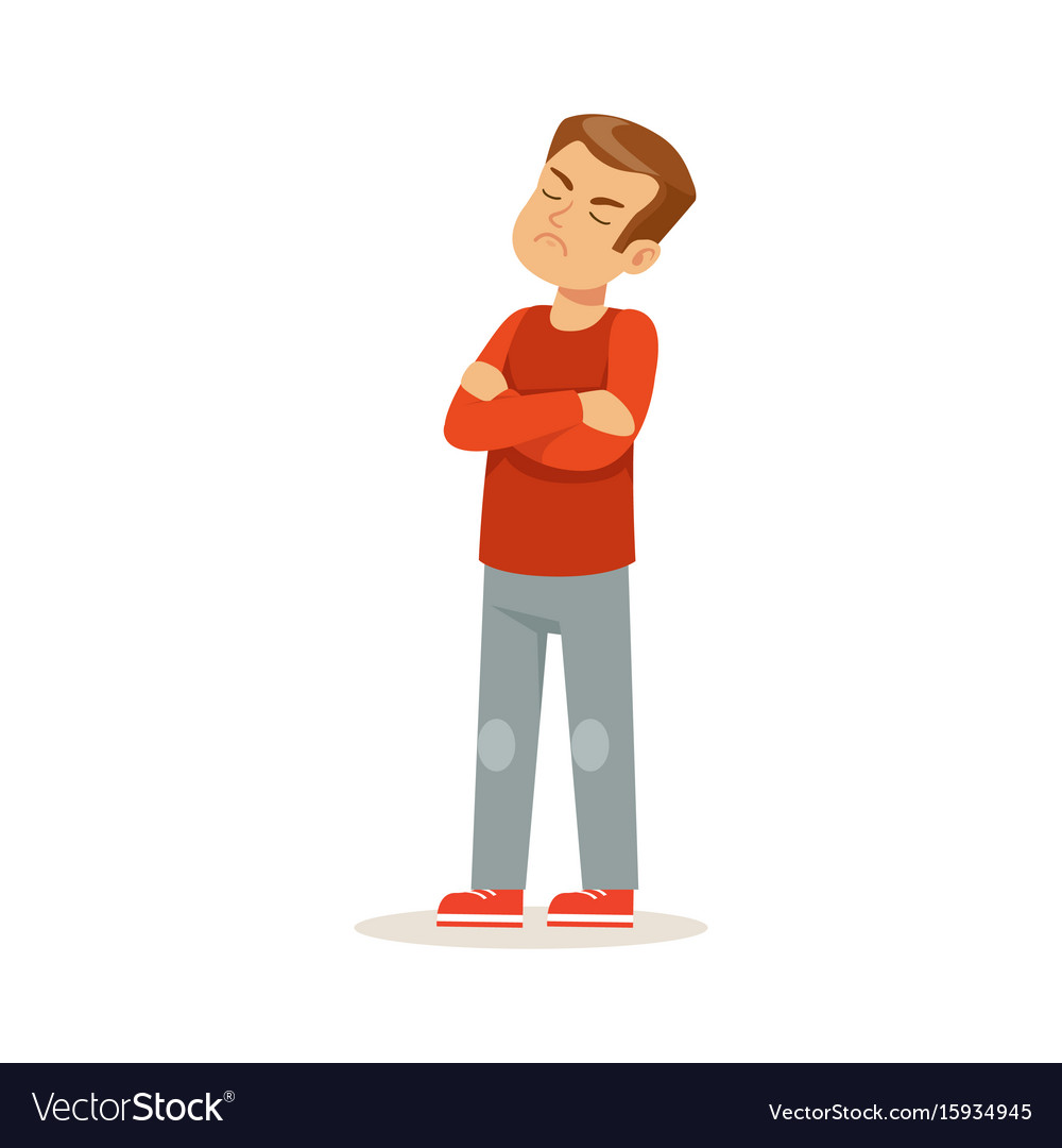 Offended boy character standing with folded arms