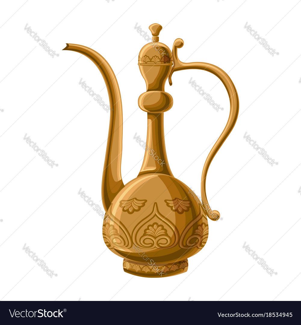Turkish traditional decorated copper pitcher vector image