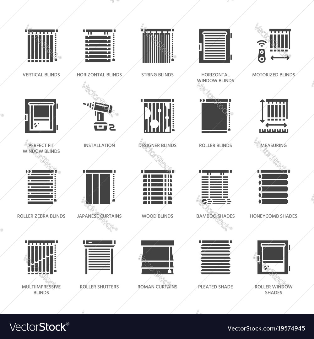 Window blinds shades glyph icons various