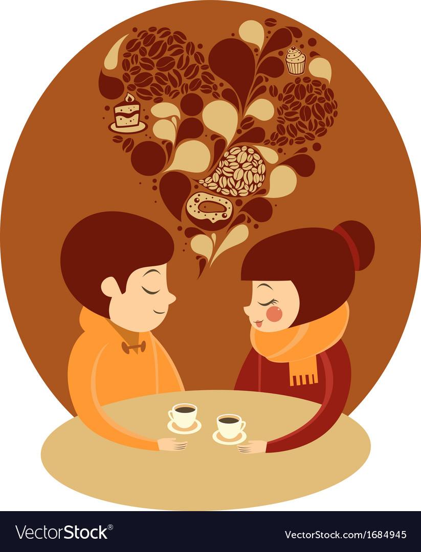 Young couple enjoying coffee together
