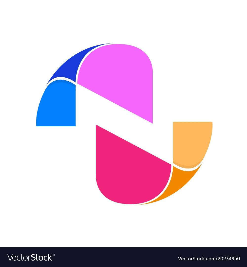 Abstract initial letter n logo design template