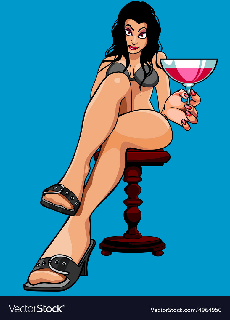 Cartoon sexy woman sitting with a glass