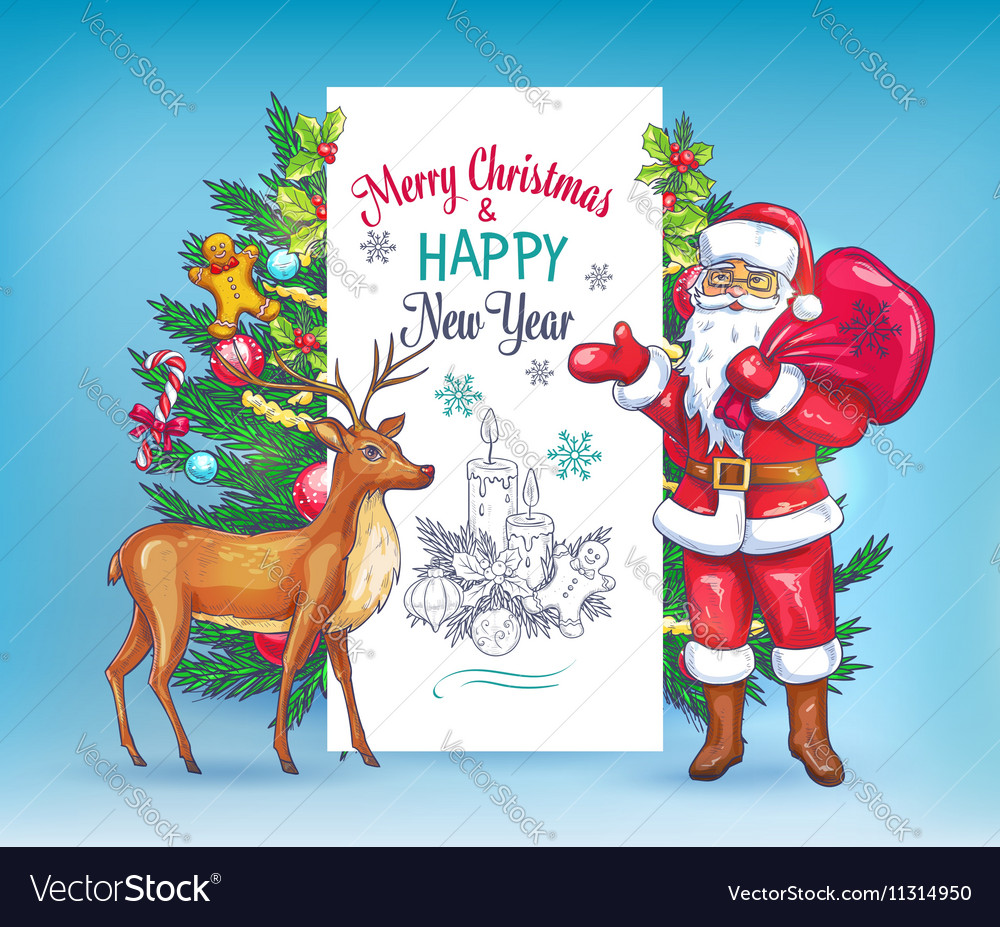 Christmas invitation card template vector image