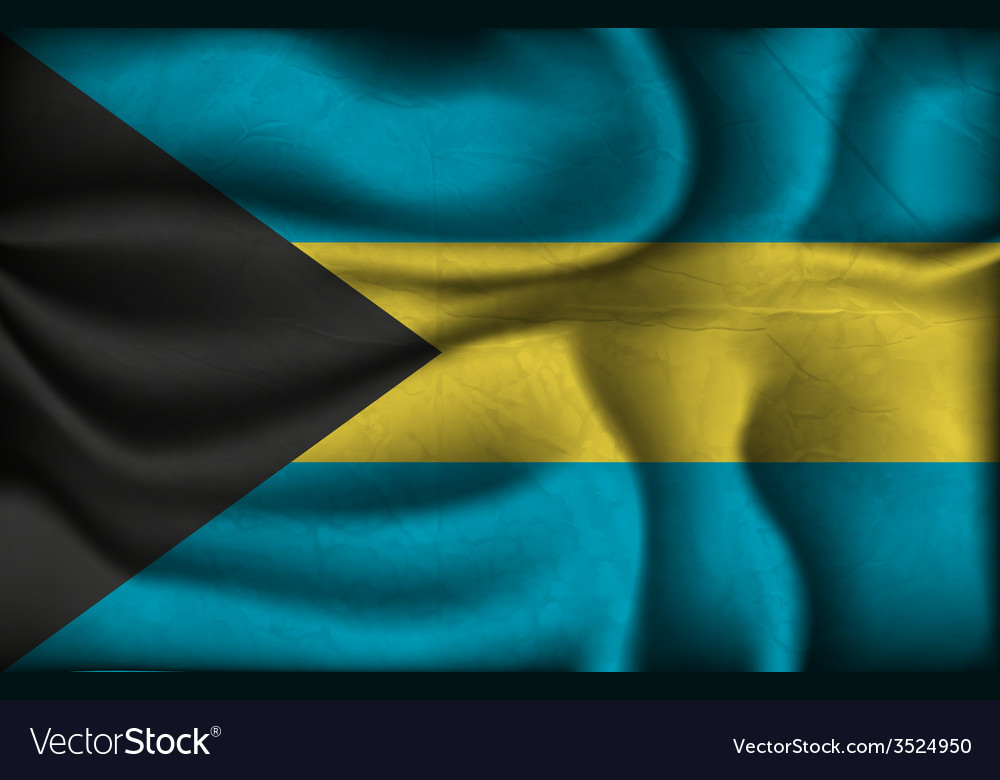 Crumpled flag of Bahamas on a light background