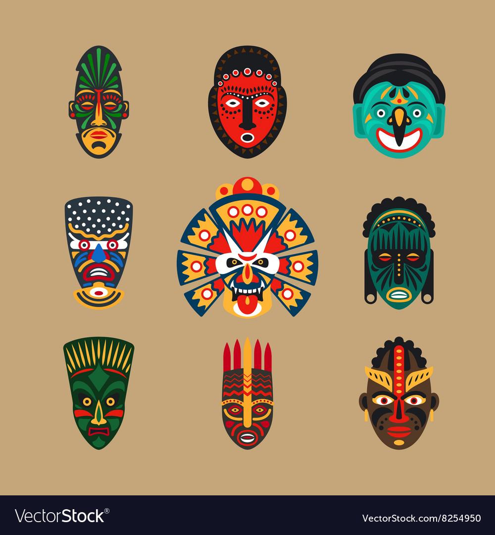Ethnic mask icons