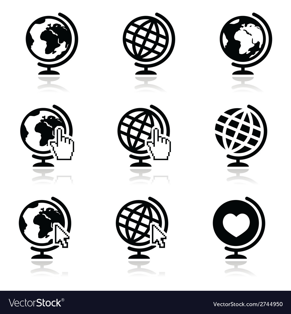 Globe earth icons with cursor hand and arro vector image