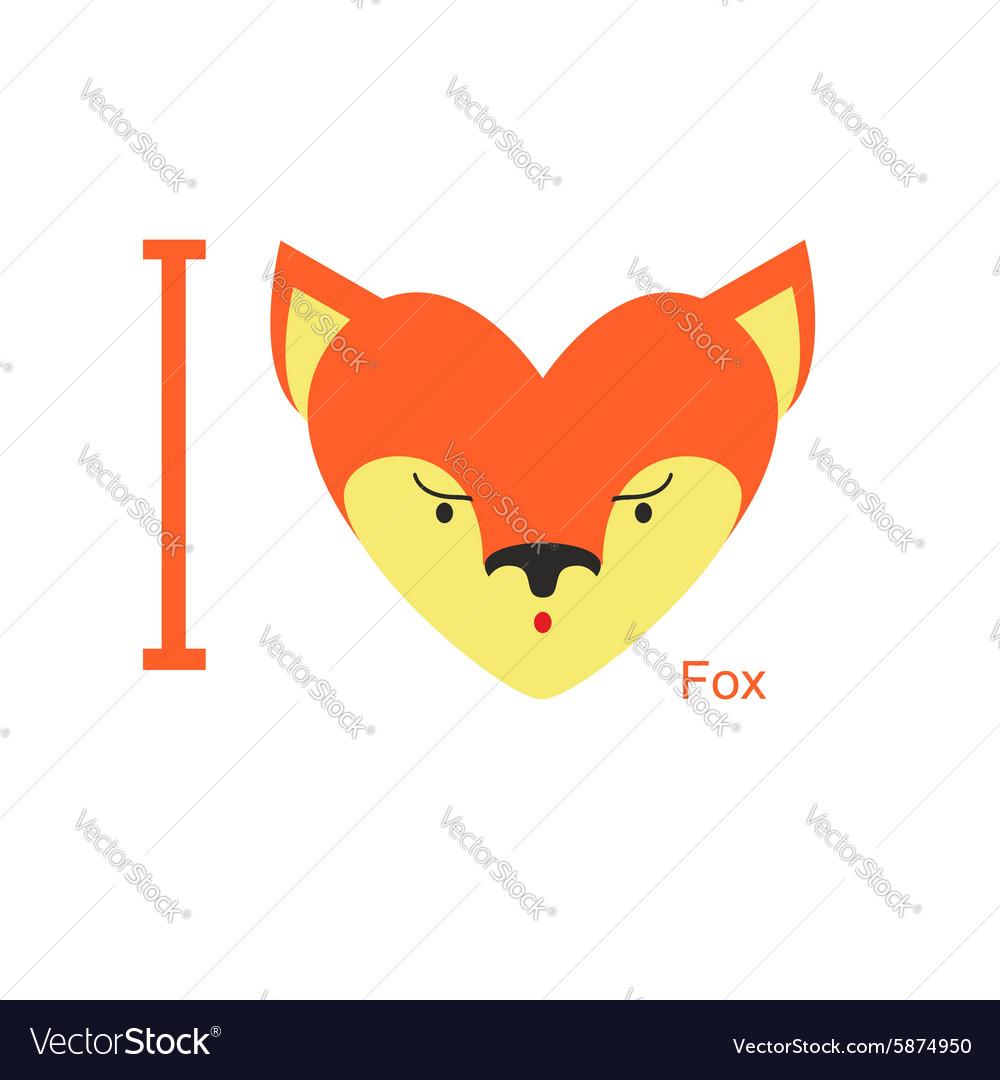 I love Fox Cute head foxes in shape of a heart