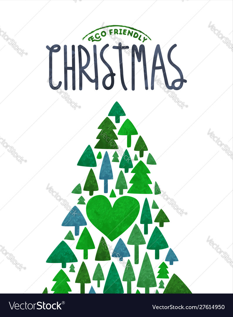 Merry christmas eco card green watercolor tree