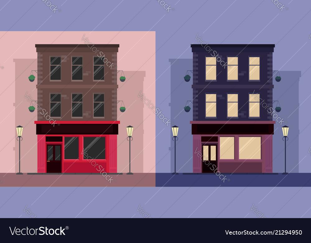 Set of flat by irish pub day and night