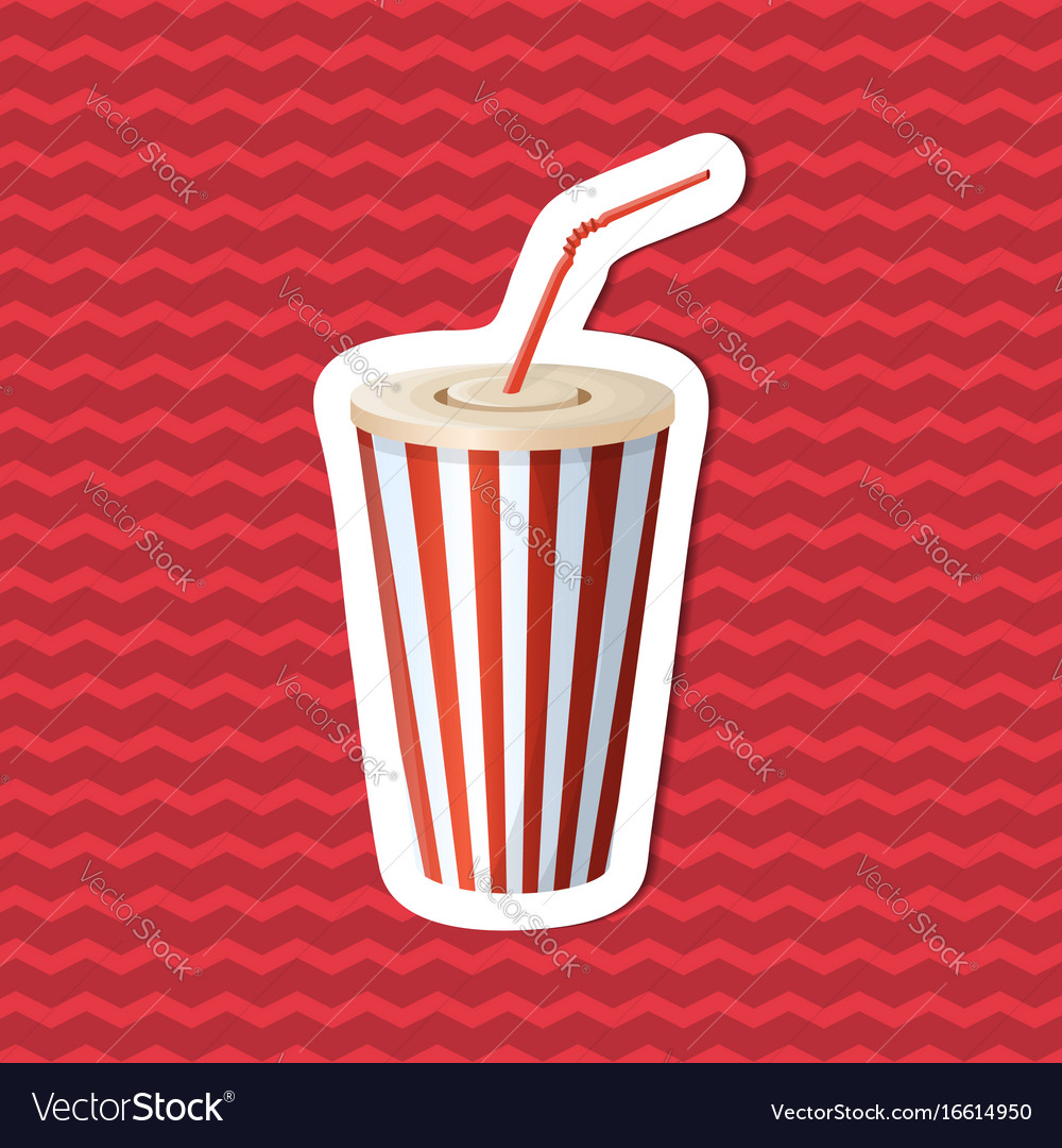 Sticker of soda cup on red striped background