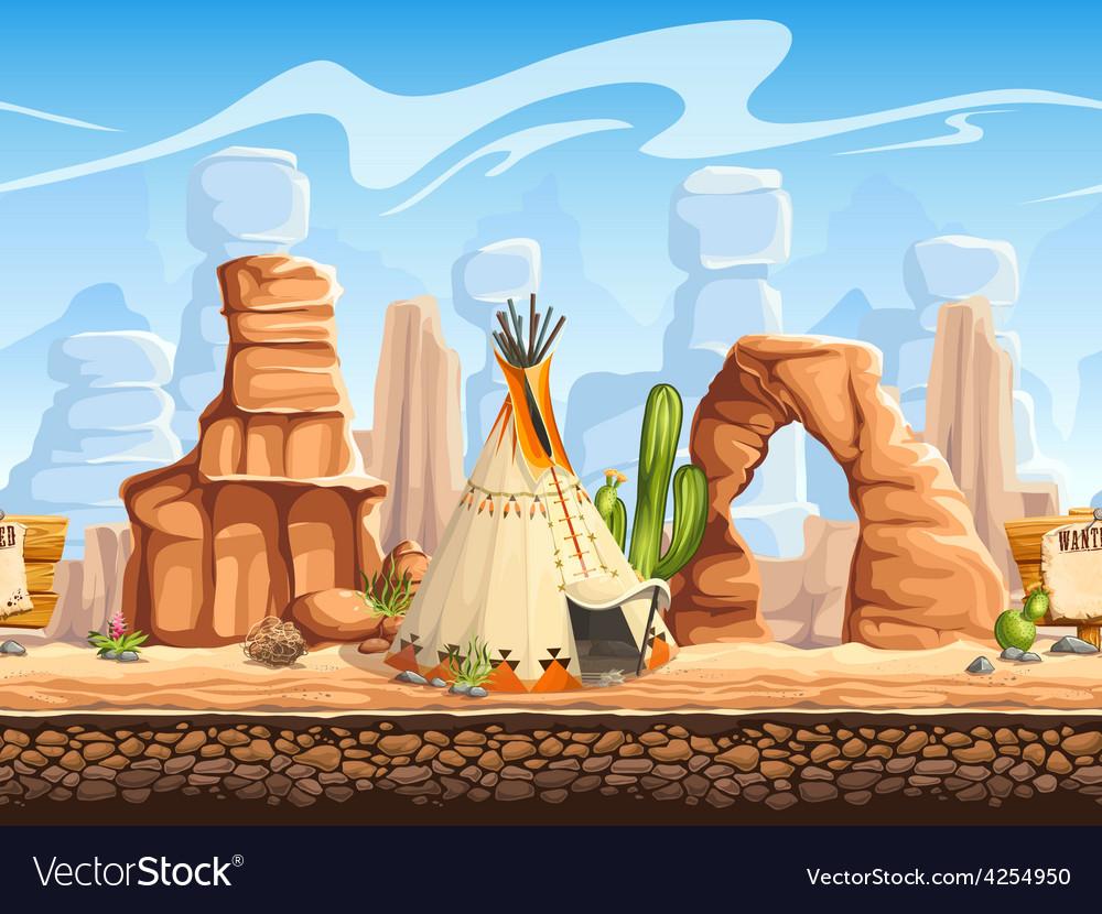 Tileable horizontal background wild west Set2 vector image