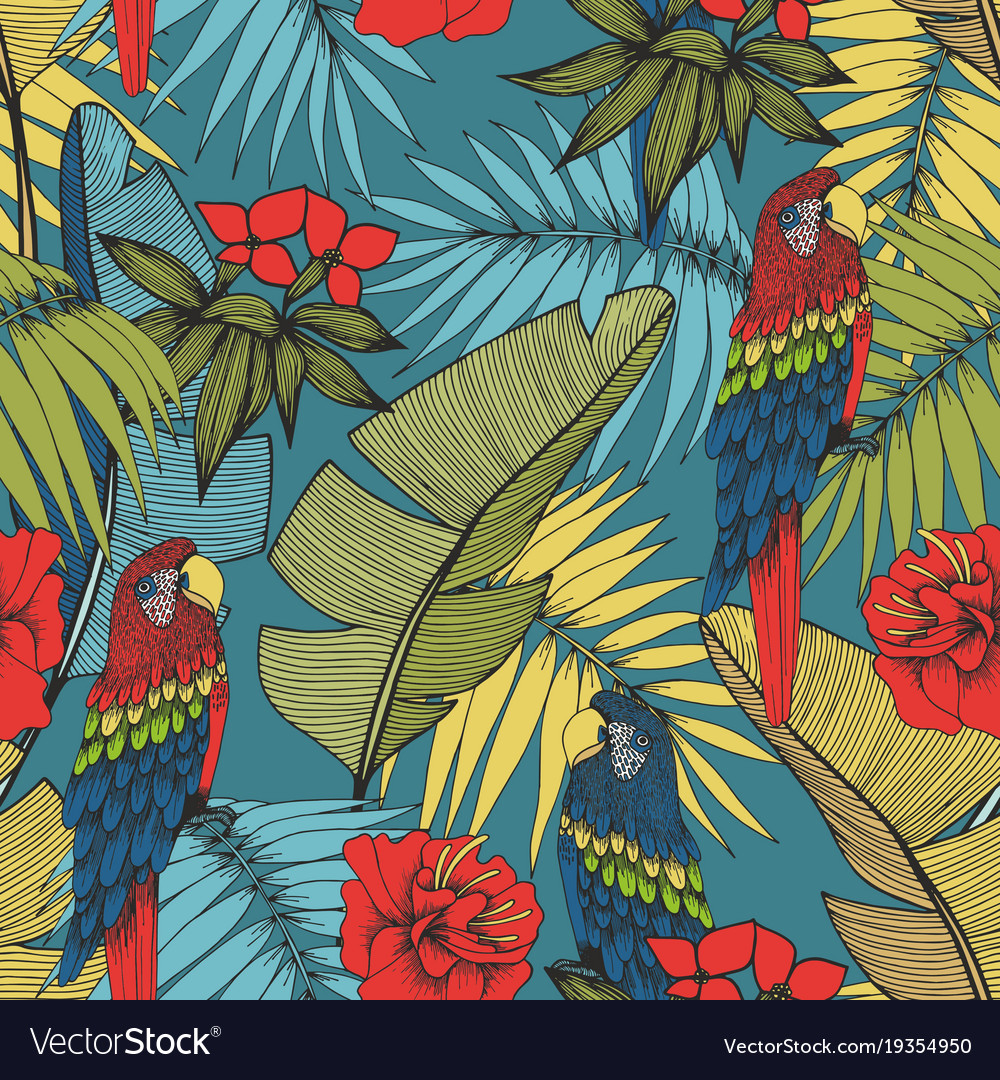 Tropical plants and parrots seamless pattern for