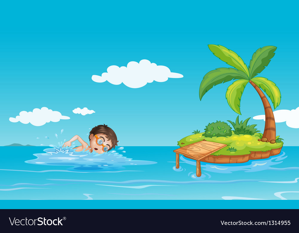 A Boy Swimming At The Beach Vector Image