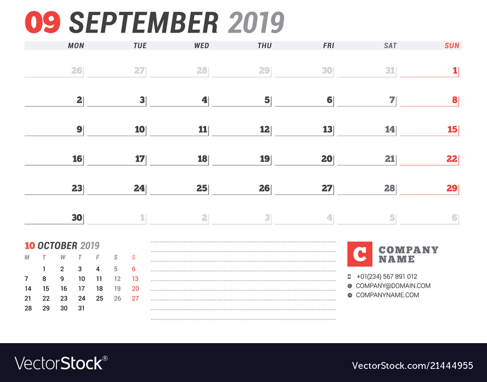 Calendar template for september 2019 business vector image wajeb Images