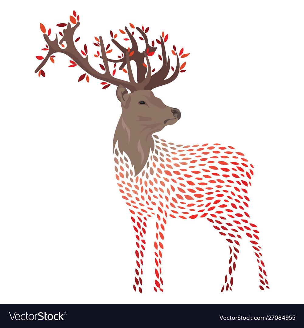 Cartoon deer stylized wild deer with horns