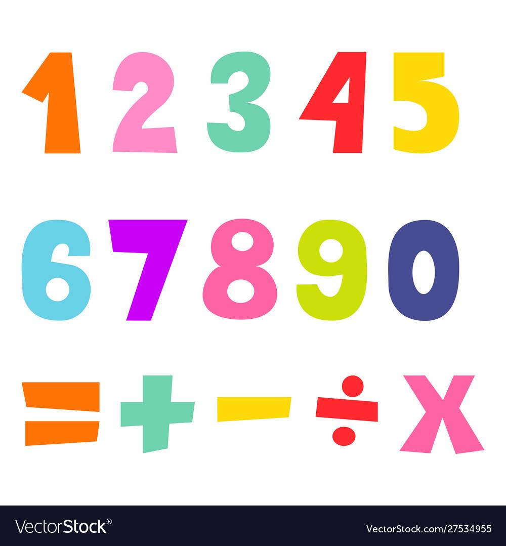Cartoon flat kids number figures math signs