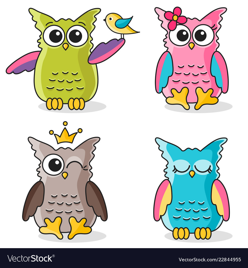Colorful funny owls icons isolated on white