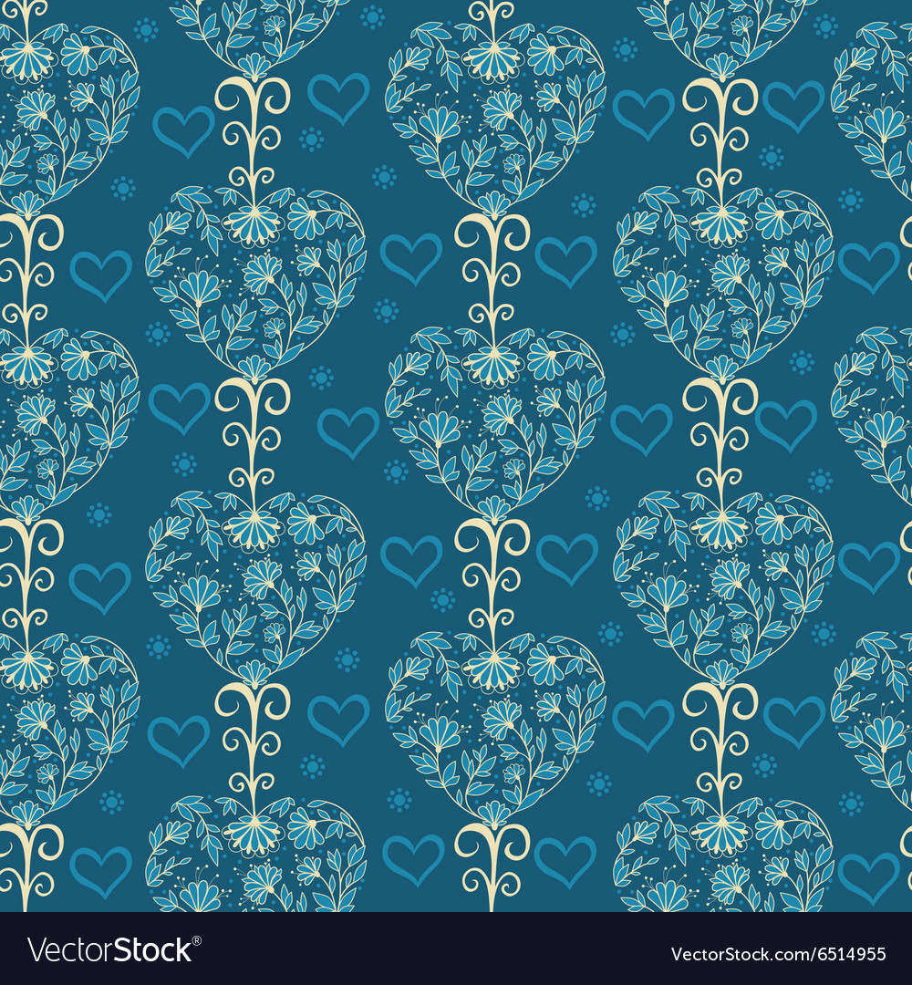 Floral vintage seamless pattern with hearts vector image