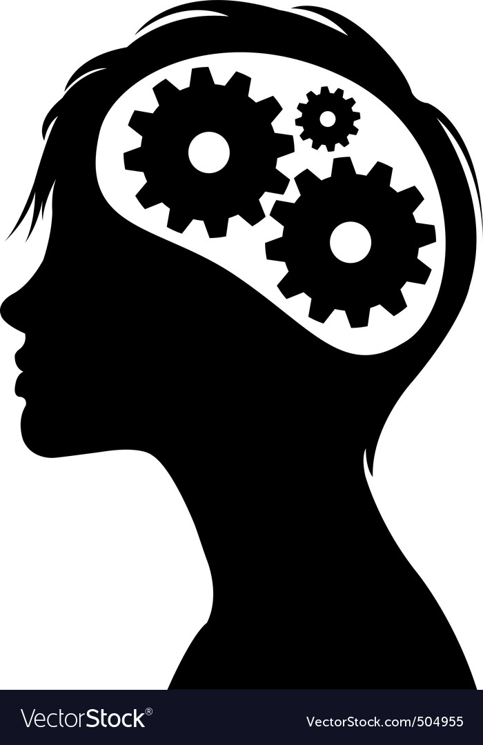 Gears in head silhouette