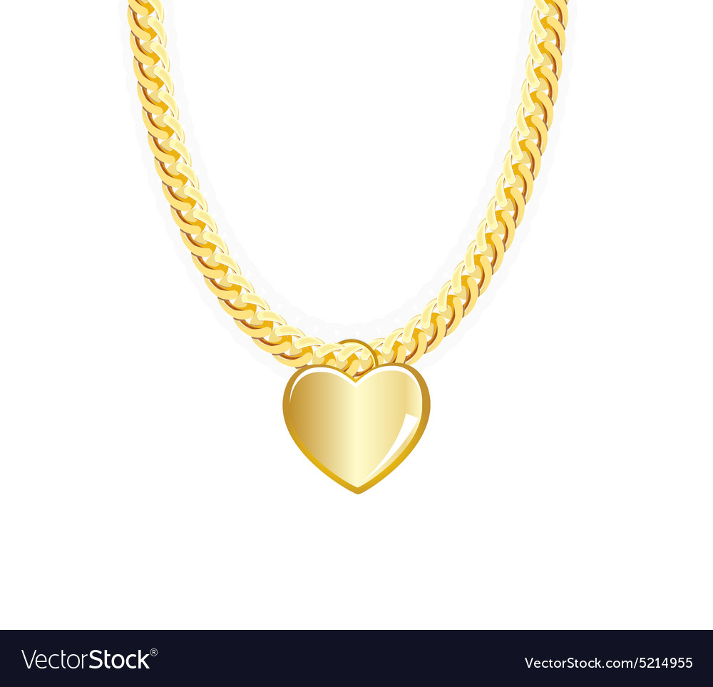 Gold Chain Jewelry Whith Heart