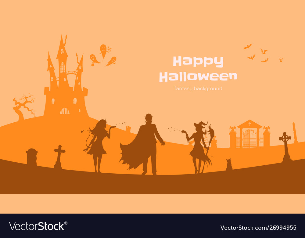 Halloween banner with fantasy silhouettes