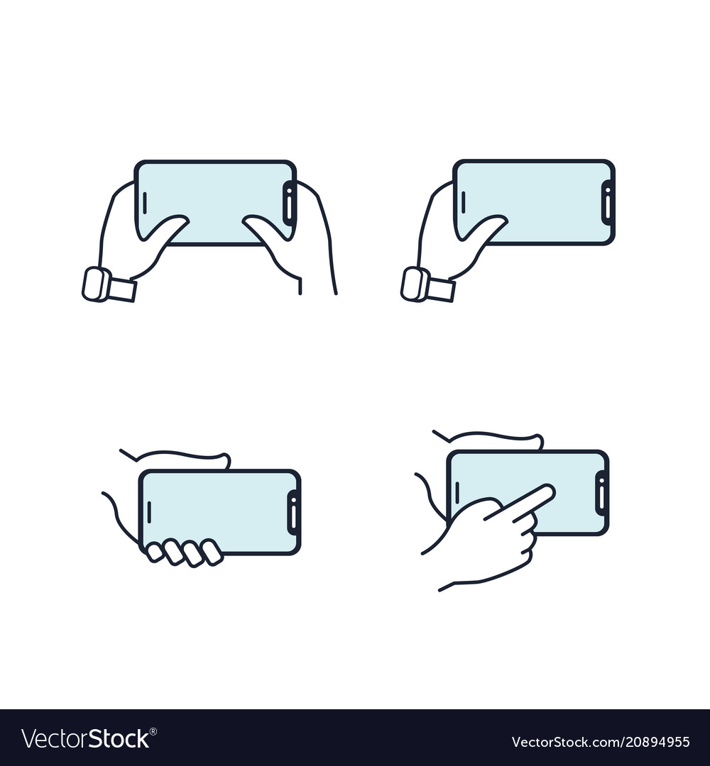 Hands holding smartphone flat line icon blue