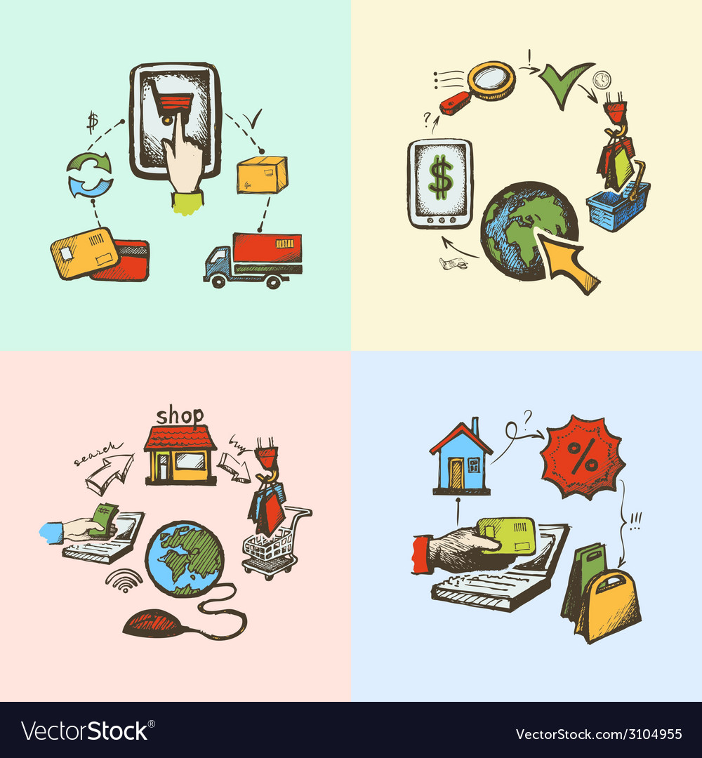 Internet shopping sketch vector image