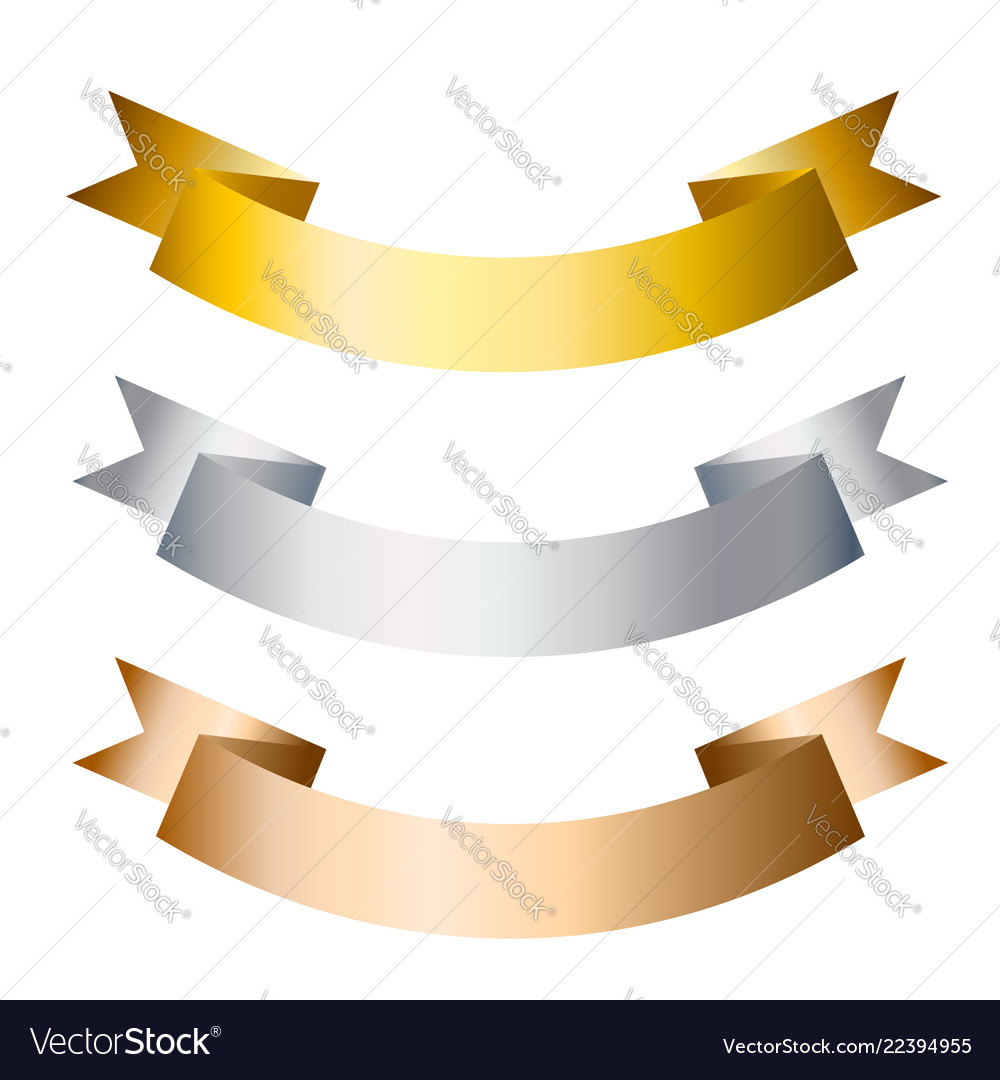 Ribbons banners golden silver and bronze flat