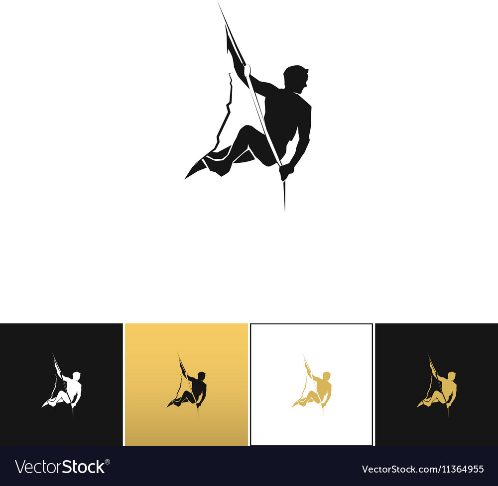 Rock climber logo or mountain climbing adventure vector image