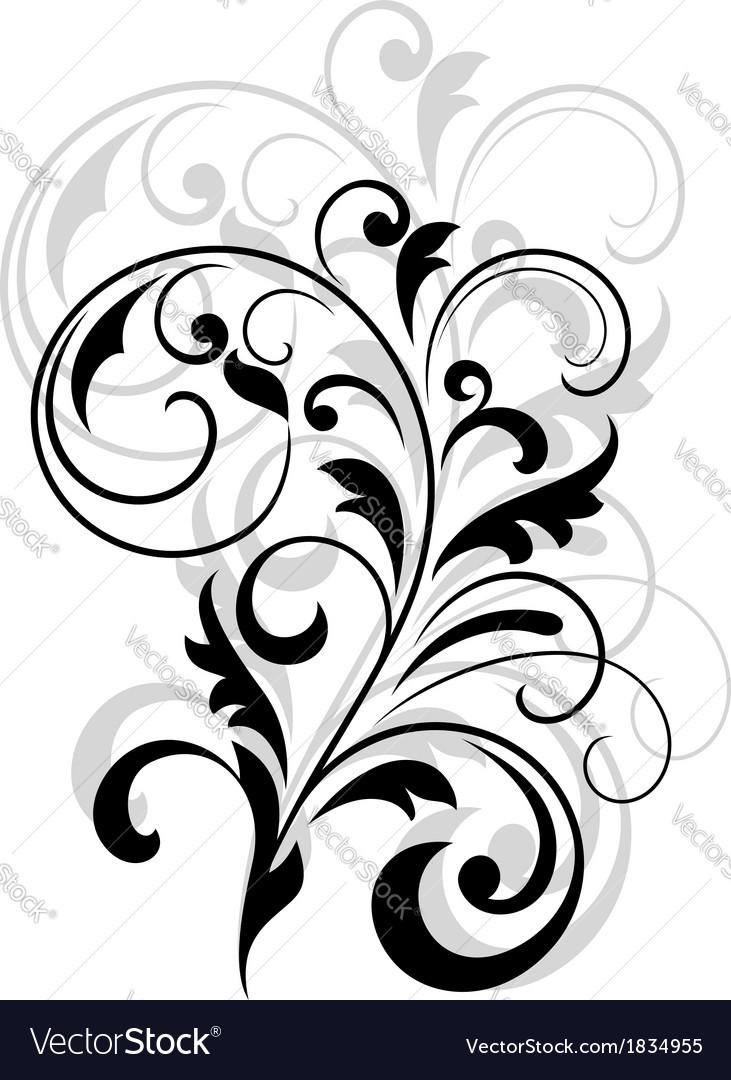 Scrolling calligraphic floral design