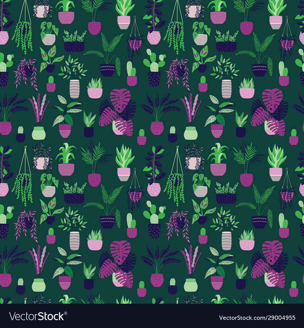 Seamless pattern with house plants