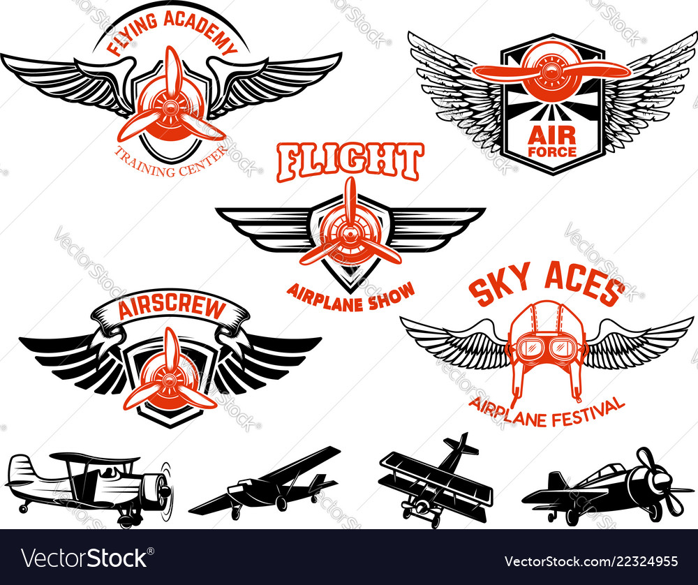 Set of airplane show labels emblems with wings