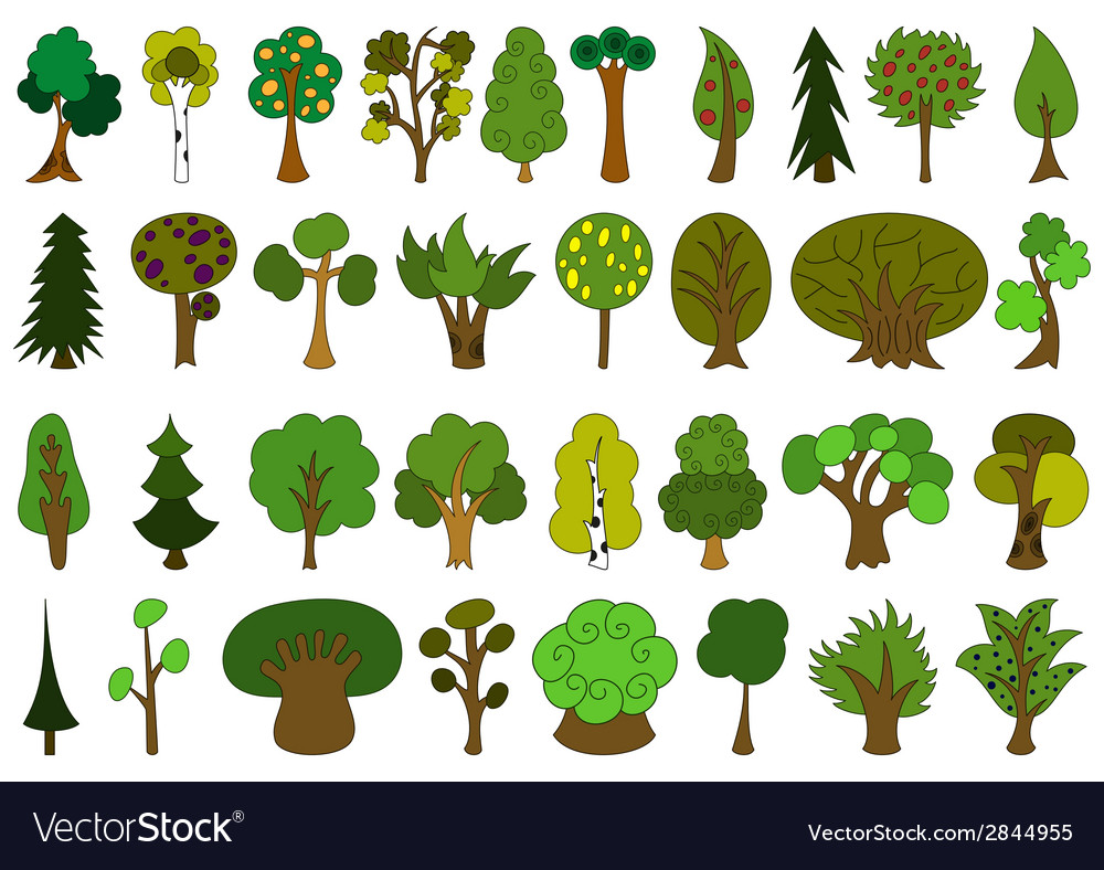 Set of cute doodle trees tree doodles isolated